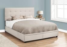 BED - QUEEN SIZE / BEIGE LINEN WITH 2 STORAGE DRAWERS
