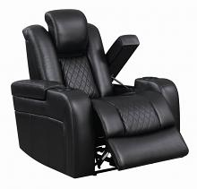 602303P European modern black faux leather power motion and headrest recliner chair