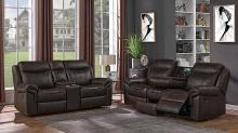 602331-32 2 pc Red barrel studio nyberg sayler brown faux leather reclining sofa and love seat set