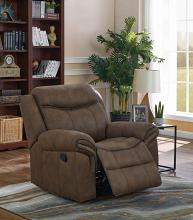 602336 Modern transitional macchiato faux suede fabric glider recliner chair