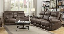 602441-42 2 pc Brixton buckskin brown coated microfiber standard motion sofa and love seat with recliner ends