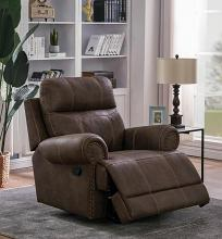 602443 Traditional buckskin brown faux suede nail head trim glider recliner chair