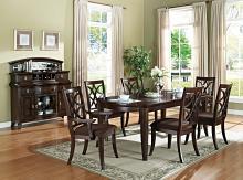 Acme 60255-57-58 7 pc keenan walnut finish wood 4 leg dining table set