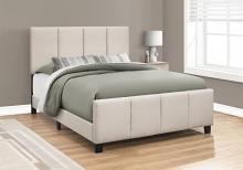 BED - QUEEN SIZE / BEIGE LINEN WITH BLACK WOOD LEGS