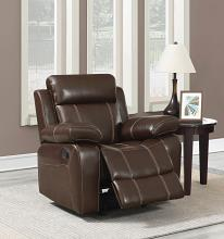603023 Transitional chestnut faux leather glider recliner chair