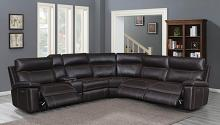 603290PP 6 pc Red barrell studio albany brown leather gel match modular sectional sofa power motion recliners and headrests