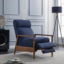 603297 Mid century modern navy blue colored fabric chestnut finish wood recliner chair