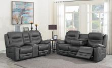 603341PP 2 pc Red barrel studio lenum hemer dark grey faux suede power motion sofa and love seat set