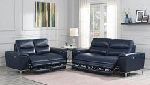 603391P 2 pc Orren ellis vincenza ink blue top grain leather power motion sofa and love seat set