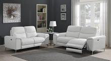 603394P 2 pc Orren ellis vincenza white top grain leather power motion sofa and love seat set
