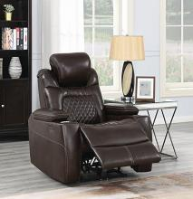 603413PP European modern espresso faux leather power motion and headrest recliner chair