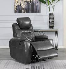 603416PP European modern charcoal faux leather power motion and headrest recliner chair