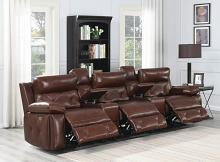 603441PPT 5 pc Red barrell studio chester chocolate top grain leather modular theater sofa power motion recliners and headrests