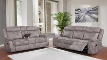 603501 2 pc Red barrel studio bolander Lawrence taupe coated microfiber reclining sofa and love seat set