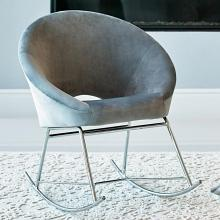 605501 Mack and milo amaratha silver velvet fabric chrome metal legs retro style rocking chair