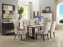 Acme 60820-22-23 7 pc Gerardo white marble top espresso finish wood dining table set
