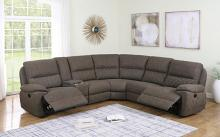 608980 6 pc Latitude run variel taupe faux suede sectional sofa set with recliner ends