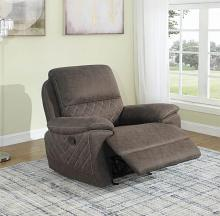 608983 Modern casual taupe faux suede fabric glider recliner chair