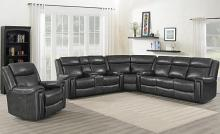 609320PPI 3 pc Red barrell studio hand rubbed charcoal leather sectional sofa power motion recliners and headrests
