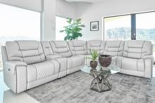 609470PP 6 pc Red barrell studio light gray top grain eather sectional sofa power motion recliners and headrests