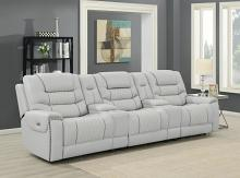 609471PPT 5 pc Garnet home theater light grey top grain leather modular theater seating sectional sofa set