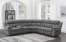 609540 6 pc Latitude run Bahrain charcoal chenille sectional sofa set with recliners
