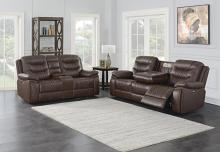 610201P 2 pc Orren ellis Flamenco brown leatherette power motion sofa and love seat set