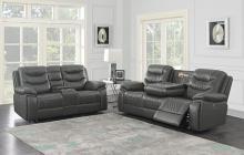 610204P 2 pc Orren ellis Flamenco charcoal leatherette power motion sofa and love seat set