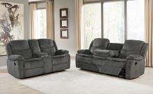 610254P 2 pc Red barrel studio bolander Jennings charcoal textured chenille fabric power motion reclining sofa and love seat set
