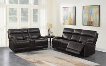 610481P 2 pc Orren ellis Longport dark brown top grain leather power motion sofa and love seat set
