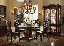 "Acme 62010-04 5 pc vendome iii cherry finish wood 54"" round glass top dining table set"
