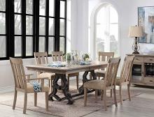Acme 62330-32-33 7 pc Gracie oaks gruver nathaniel maple finish wood trestle base dining table set