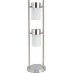 Brushed steel table lamp with 2 lights