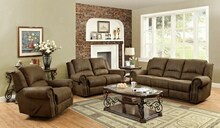 Coaster 650151 2 pc sir rawlinson collection brown coated microfiber sofa with recliner ends and love seat with recliner ends