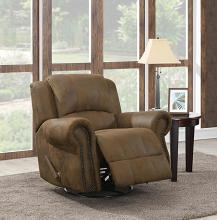 650153 Traditional buckskin brown faux suede fabric swivel rocker recliner chair