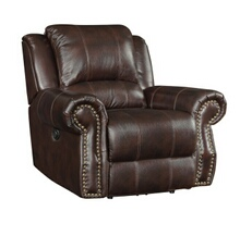 Coaster 650163 Tobacco burgundy brown leather match upholstered swivel rocker recliner with nail head trim