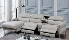 650370PP 4 pc Latitude run morton beryl light grey leather gel power motion recliners sectional sofa set