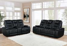651301PP 2 pc Orren ellis Zane black leatherette power motion sofa and love seat set