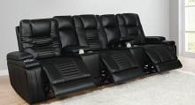 651320PPT 5 pc Garnet home theater black performance leatherette modular theater seating sectional sofa set