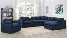 651551P-S6 6 pc Red barrel studio destino midnight blue linen like fabric power motion sectional sofa set