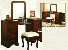 3 pc Louis Phillipe large bedroom make up vanity set with mirror and stool