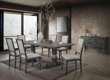 Acme 66180-82 7 pc Ophelia & Co. ashly leventis weathered gray finish wood double pedestal dining table set