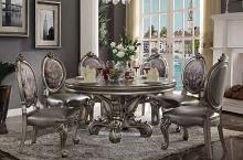 "Acme 66840-22 7 pc House of hampton charlene versailles antique platinum finish wood 60"" round dining table set"