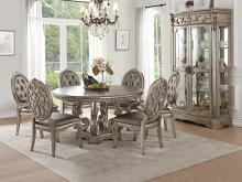 "Acme 66915-22 7 pc Northville antique champagne finish wood 60"" round dining table set"