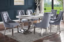 Acme 68250-64 7 pc Zander modern glam chrome metal and white faux marble top dining table set