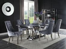 Acme 68255-64 7 pc Nasir modern glam chrome metal and grey faux marble top dining table set