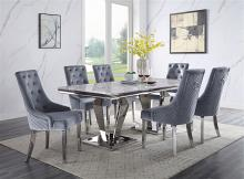 Acme 68265-64 7 pc Satinka modern glam chrome metal and white faux marble top dining table set