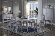 Acme 68860-62-63 7 pc Waldorf park House Marchese pearl gray finish wood two tone gray fabric dining table set