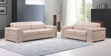 692BEI-2PC 2 pc Orren ellis ferrara divanitalia beige italian leather sofa and love seat set