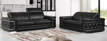 692BK-2PC 2 pc Orren ellis ferrara divanitalia black italian leather sofa and love seat set